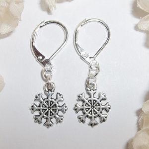 Small Snowflake Earrings Set Silver Gift NWT 4950